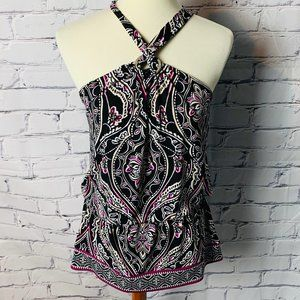 WHBM Halter Top Size XS Black White Pink Tan White